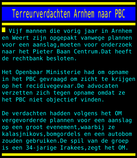 test Twitter Media - Terreurverdachten Arnhem naar PBC https://t.co/wVjlmoPWmW