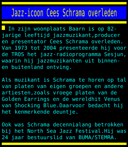 test Twitter Media - Jazz-icoon Cees Schrama overleden https://t.co/0TRgOCwTyb