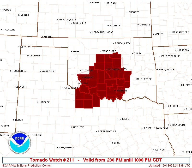 test Twitter Media - A PDS Tornado Watch is in effect until 10PM for much of SW and central OK. Very large hail and tornadoes are possible. Please stay alert!! https://t.co/j063l4a3bL