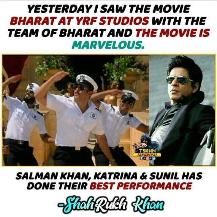 RT @BollyMegastarSK: 😘❣️ First Review  #bharat #salman #salmankhan #sharukhkhan #sharukh #Review https://t.co/d52I3G5MBD