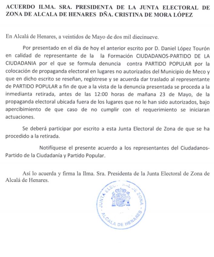 RT @En_Meco_Podemos: La JEZ pone en su sitio al PP y VOX al obligarles a retirar las pancartas colocadas ilegalmente https://t.co/FSsdAPdiJN