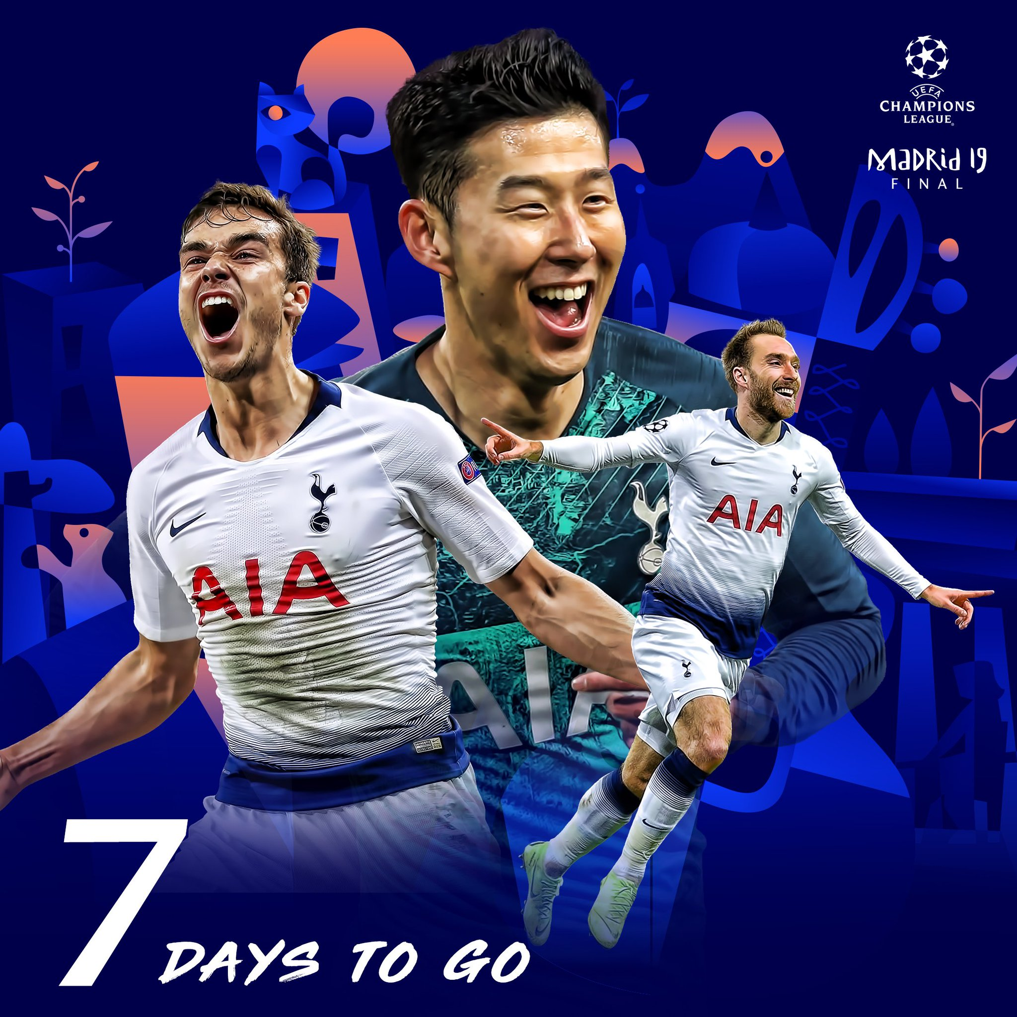⌛️⚽️ #UCLfinal,  7️⃣ and counting!   #MarchToMadrid ⚪️ #COYS https://t.co/UpaJHibri5