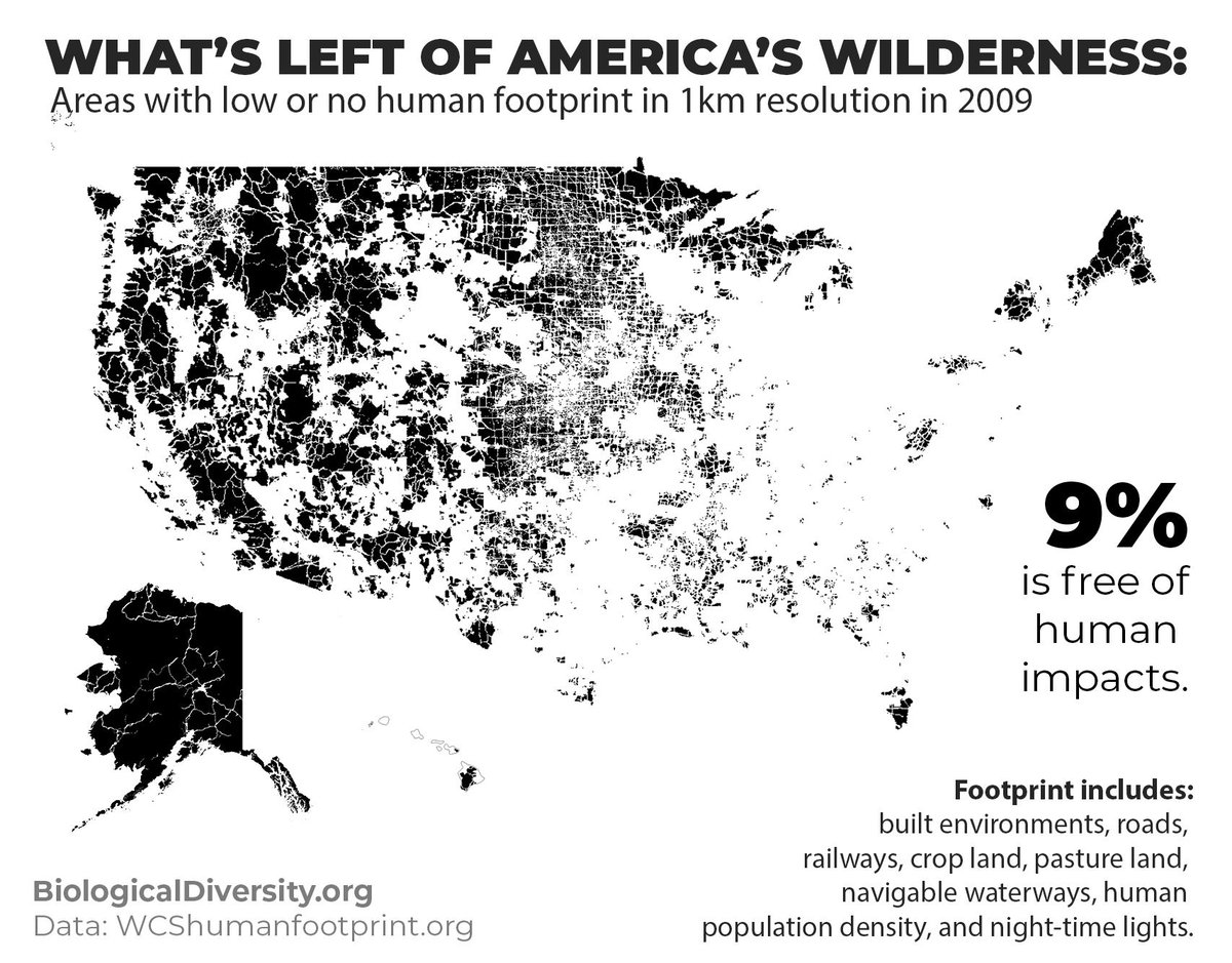 RT @CenterForBioDiv: This is what's left of our wilderness in the United States. https://t.co/iJe0BjJnPD