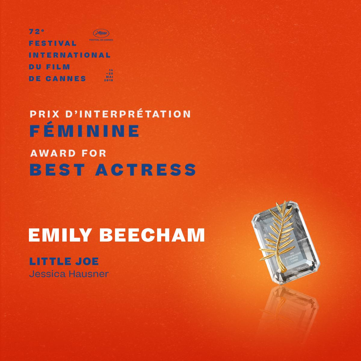 The Award for Best Actress goes to… Emily Beecham for #LittleJoe by Jessica Hausner  #Cannes2019 #Awards https://t.co/jp2H87igKz