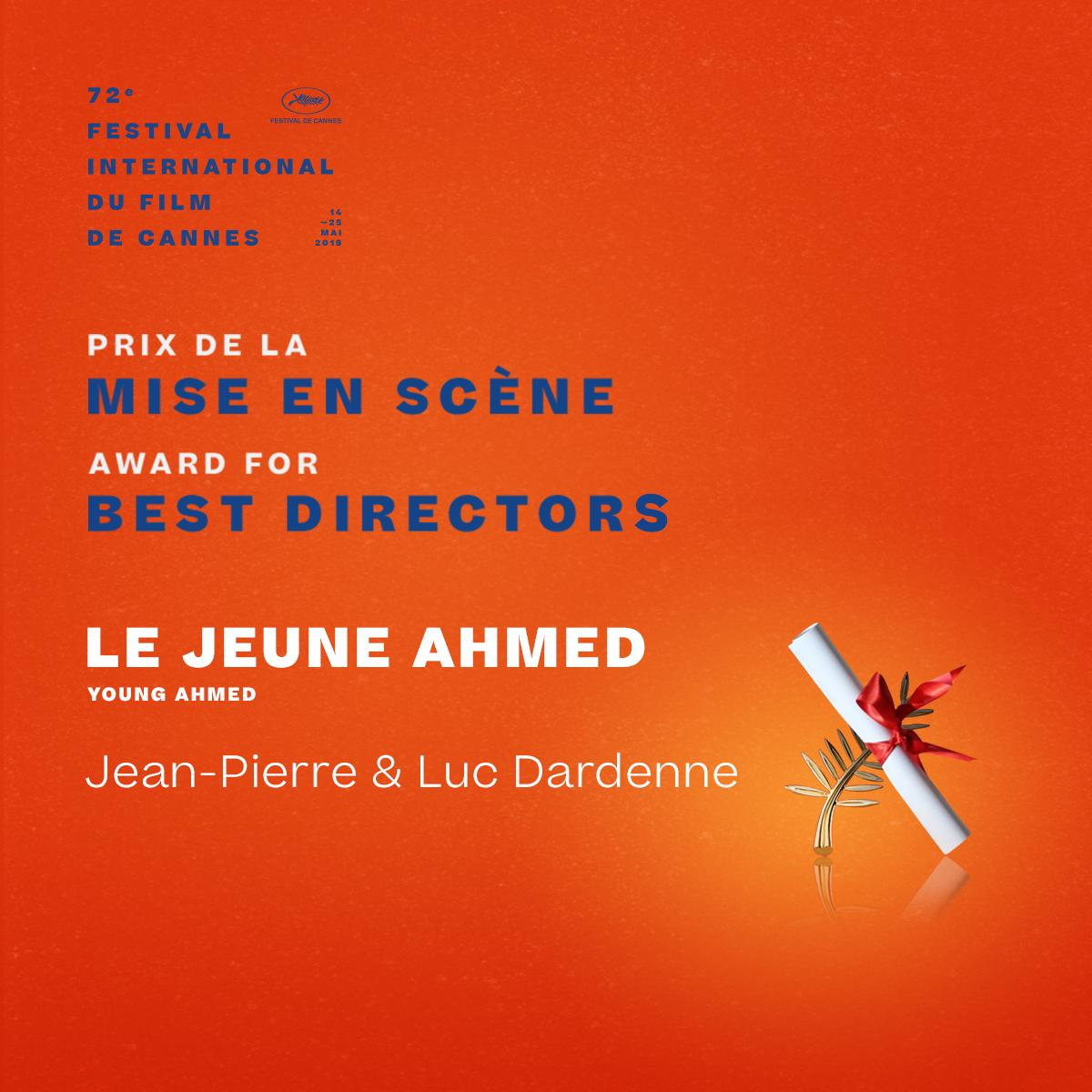The Award for Best Directors goes to… #LeJeuneAhmed by Jean-Pierre & Luc Dardenne  #Cannes2019 #Awards https://t.co/jnlLNMU7Pq