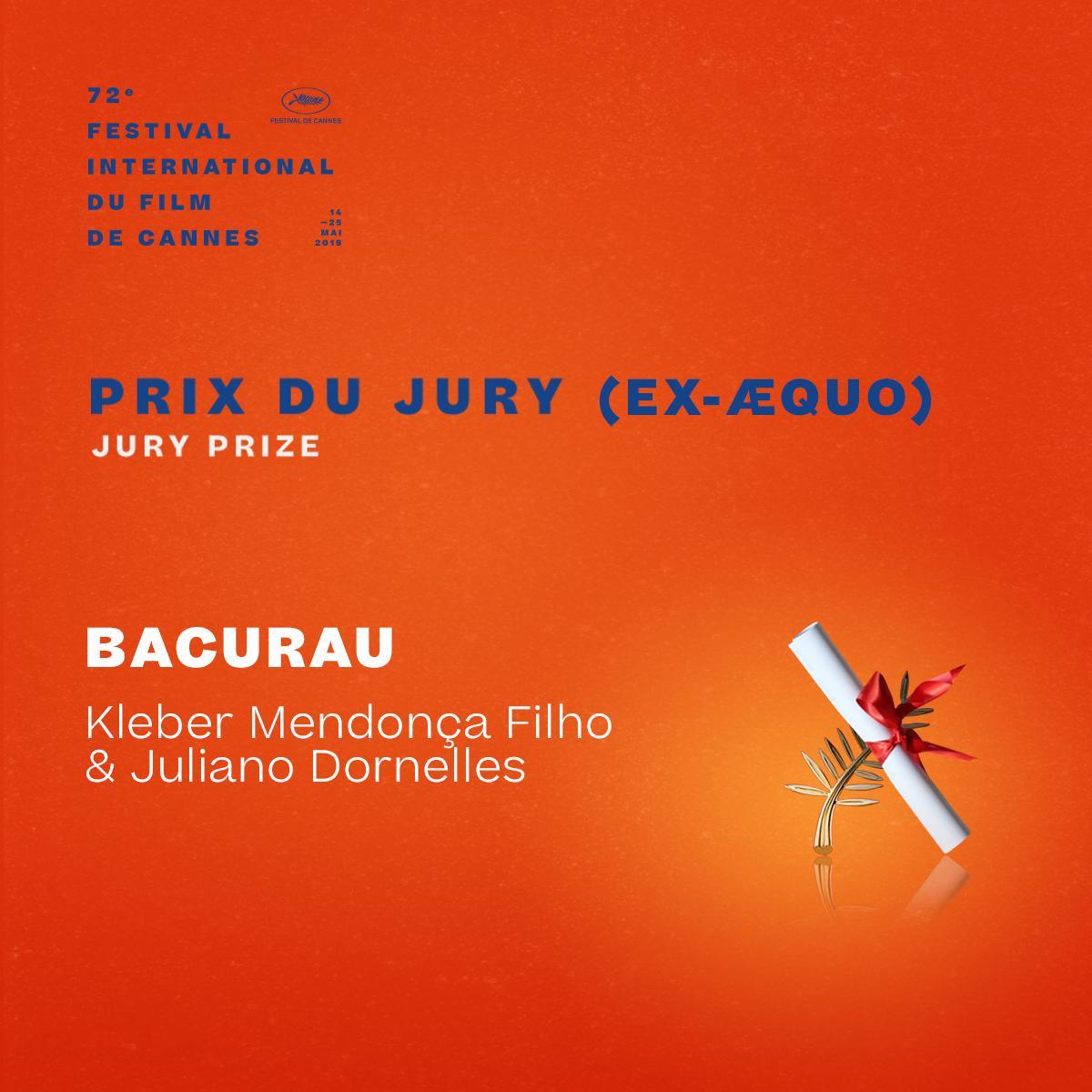 And the Jury Prize winner ex-æquo is… #Bacurau by Kleber Mendonça Filho & Juliano Dornelles  #Cannes2019 #Awards https://t.co/RPpcBXKyfj