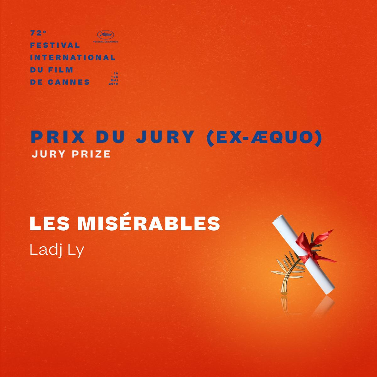 And the Jury Prize winner ex-æquo is… #LesMisérables by Ladj Ly  #Cannes2019 #Awards https://t.co/OcKorfMeJ3