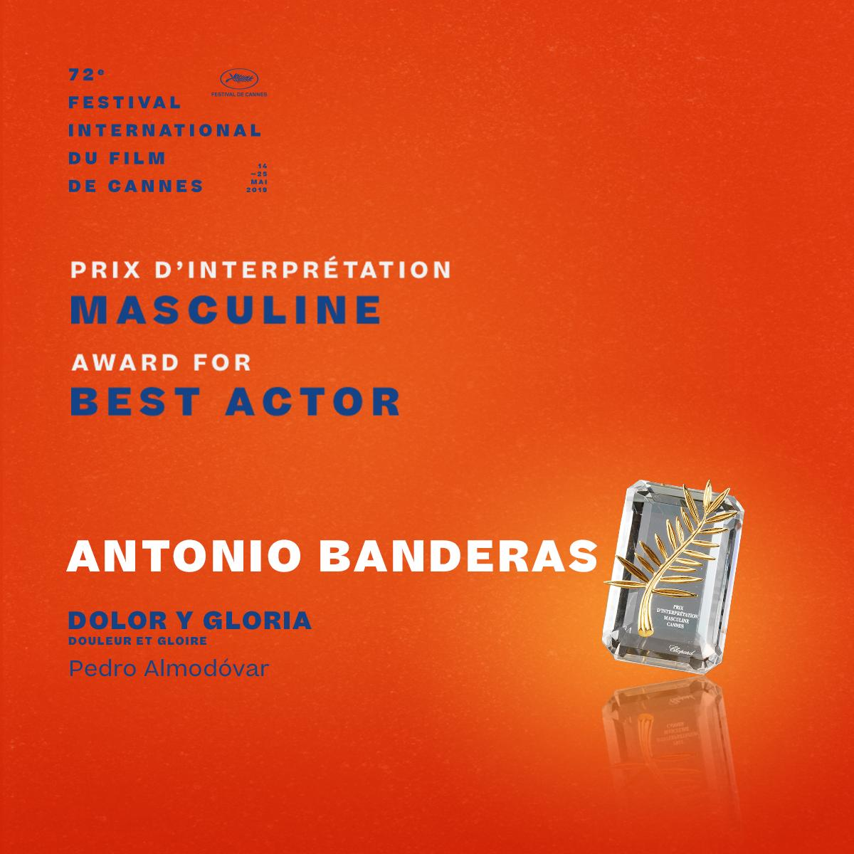 The Award for Best Actor goes to… Antonio Banderas in #DolorYGloria by Pedro Almodóvar  #Cannes2019 #Awards https://t.co/ZB5KQLUz1v