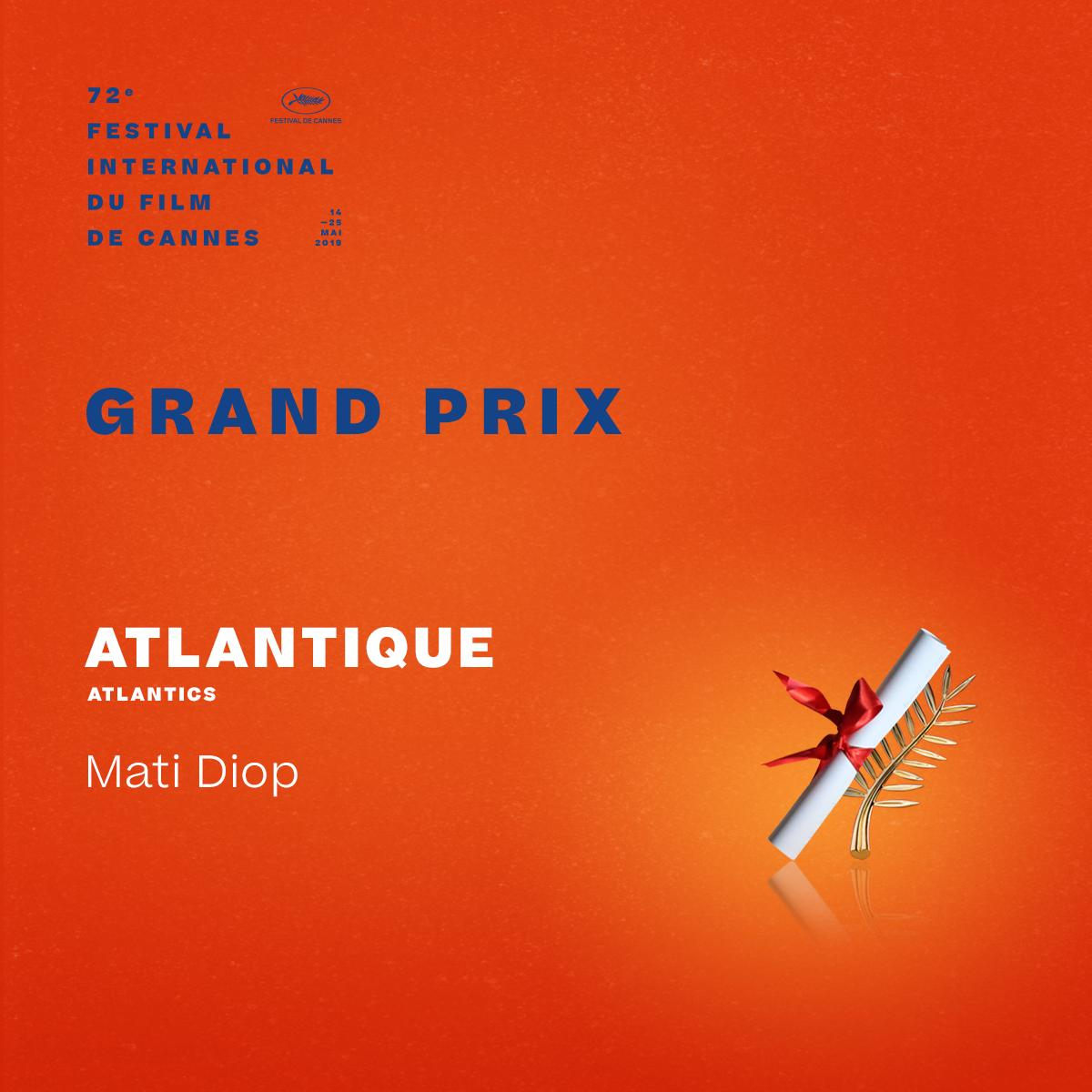 And the Grand Prix winner is… #Atlantique by Mati Diop  #Cannes2019 #Awards https://t.co/7XFlO3IM3S