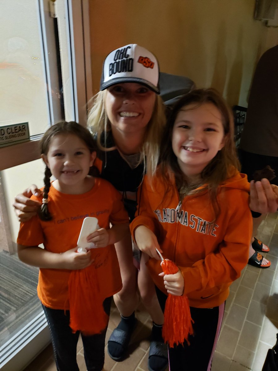 Got completely soaked going back to the car (luckily I brought umbrellas for the girls), but it was totally worth it! Welcome home and good luck at the #WCWS! #OkState #FTG