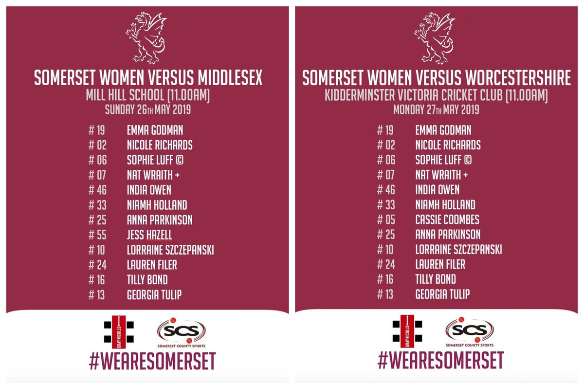 test Twitter Media - The very best of luck to @LuffSophie's @SCBwomengirls over the next two days as they take on @MiddxCCCWomen & @WorcsCricket in the County Championship!  #WeAreSomerset https://t.co/MgC9bhSXWy