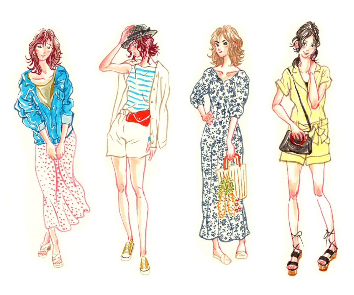ファッション イラスト 夏
