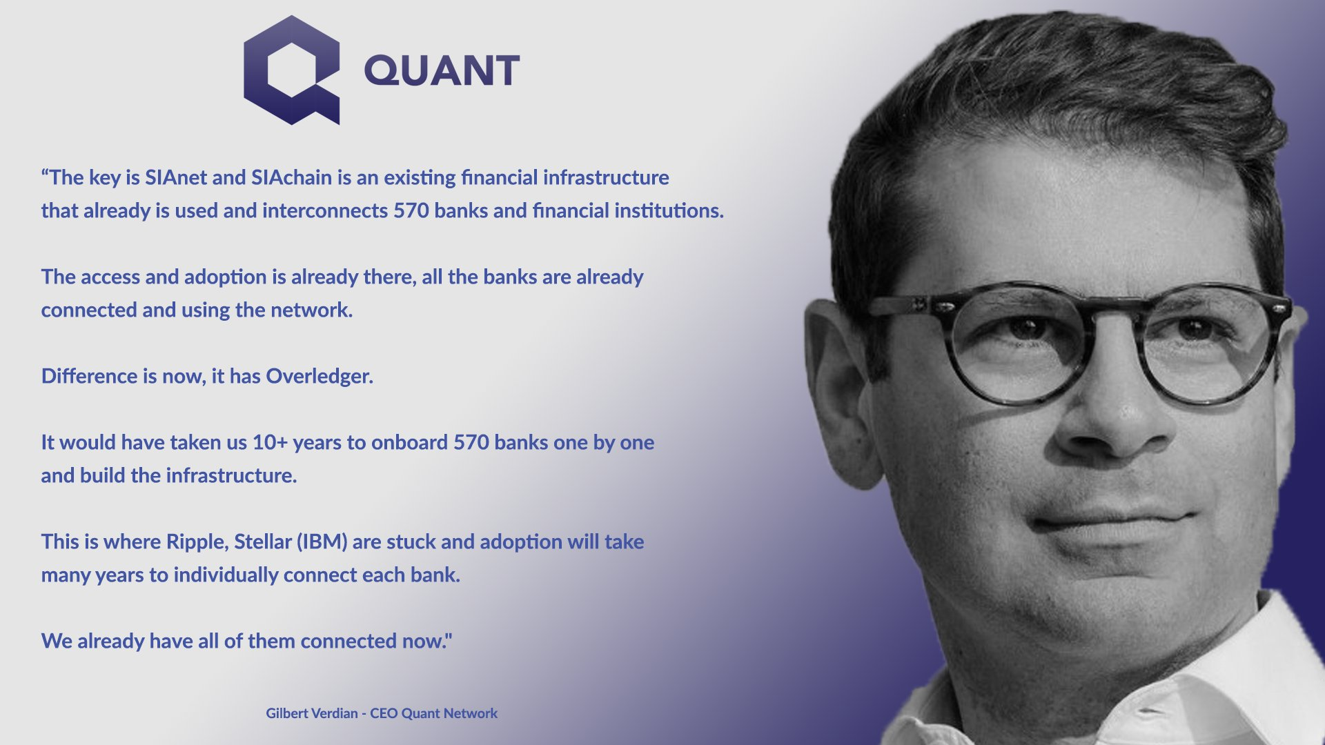 """✅ """"The key is SIAnet & SIAchain is an existing infrastructure that already is used and interconnects 570 banks and financial institutions""""  ✅ """"All the banks are already connected and using the network... Difference is now, it has #Overledger""""  $QNT #blockchain #DLT #crypto #SIA https://t.co/jq6zC2tgDn"""