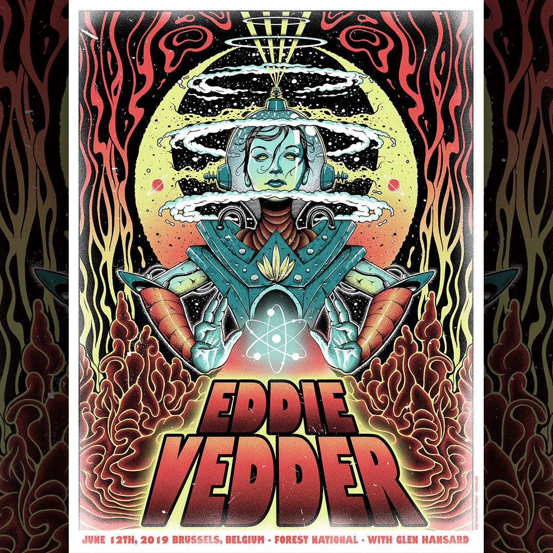 #EddieVedder plays @forestnational in Brussels tonight. Official poster art by @PJacksonLives. https://t.co/eautZs8Cwi