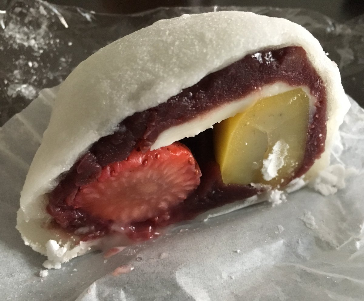 test ツイッターメディア - 「なんじゃこら大福」というらしい。 苺と栗とクリームチーズ! うまーい! https://t.co/Z00VsK64D6