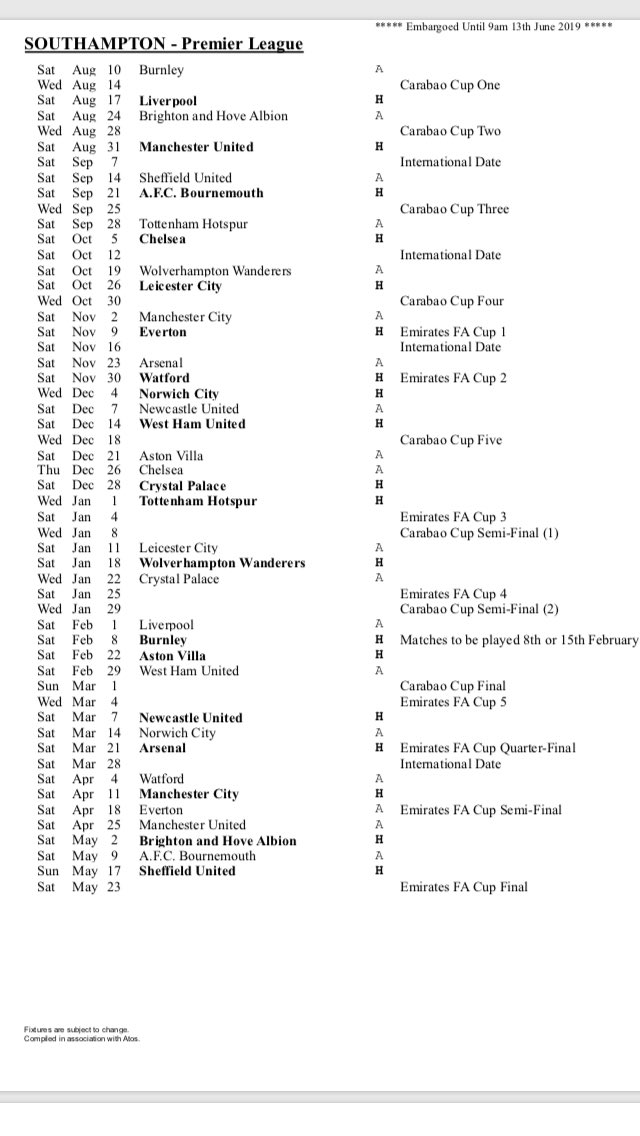 #saintsfc PL fixtures 2019/20:  Awkward away trips & glamorous home games to begin with.... https://t.co/bYkRvZZLyr