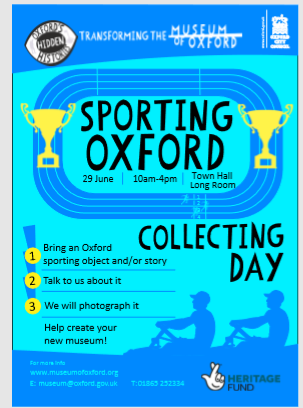Sporting Oxford Collection Day!  We are looking for stories and objects relating to sport in Oxford.  Come along tell us your stories - help create your new museum.  29th June, 10am - 4pm, Town Hall Long Room, St Aldate's, OX1 1BX More information visit: https://t.co/gfAS7uUE3h