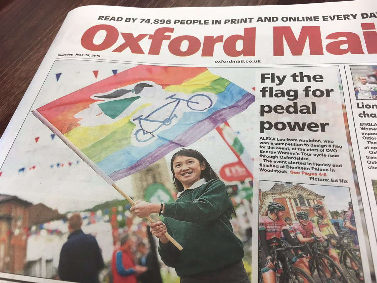 Brilliant to see such great coverage for the winner of the @thewomenstour flag competition in today's @TheOxfordMail! We look forward to being involved in the community and school engagement again next year when the race returns! @OxfordshireCC