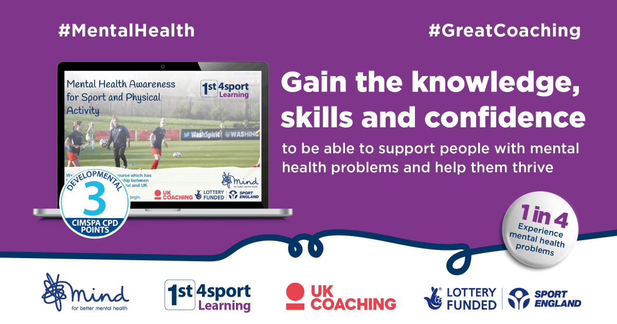 @Sport_England have collaborated with @MindCharity , @_UKCoaching and @1st4sportQuals have collaborated to create new online course to help everyone in coaching increase their knowledge of mental health.  More information: https://t.co/o9SUVXLwnJ #MentalHealth #GreatCoaching