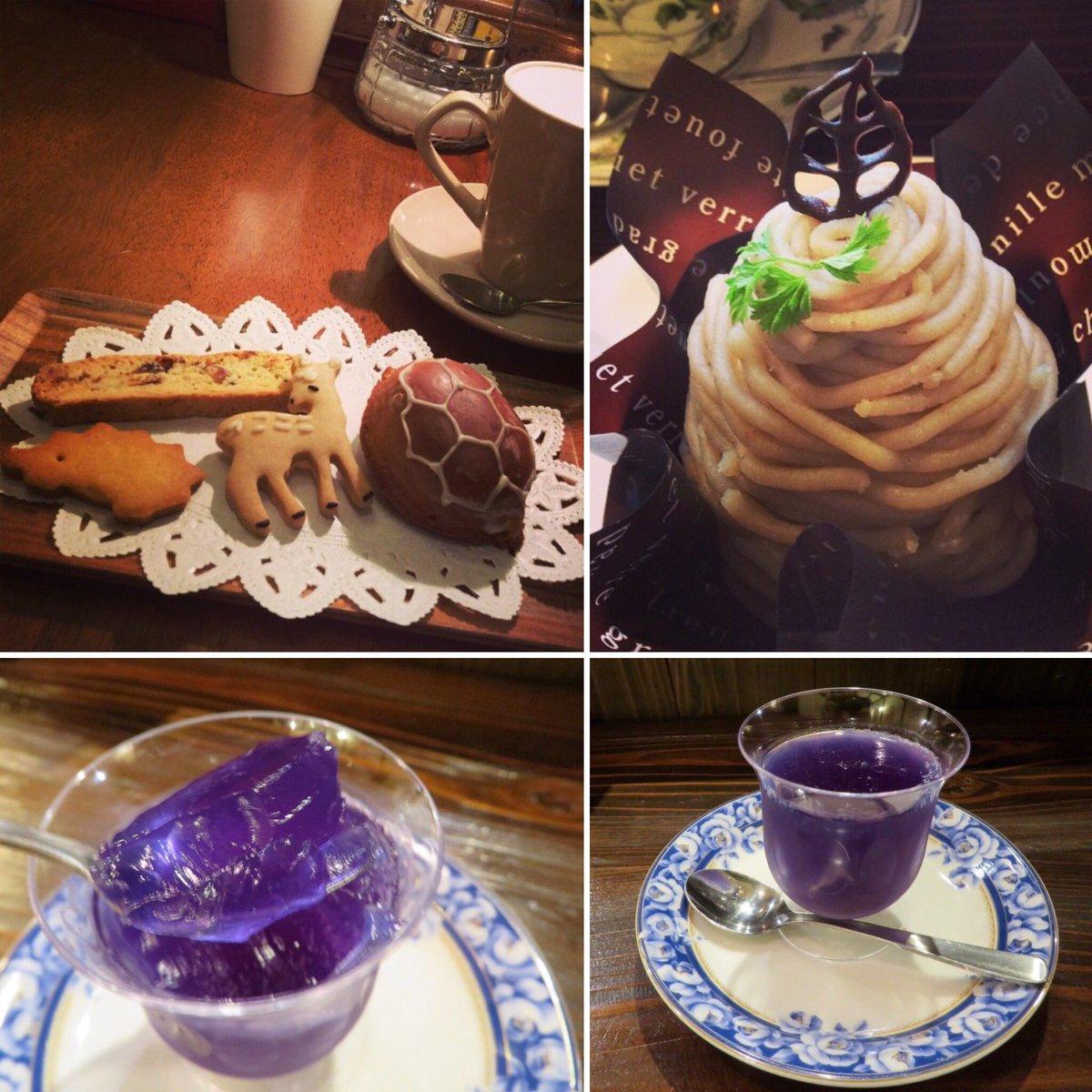 test ツイッターメディア - 以前行った時の写真を見つけたので😊秋冬限定の和栗モンブラン、正倉院宝物「瑠璃杯」インスパイアのゼリー。バタフライピーのブルーが美しいー。その時々の旬のフルーツを使った生ケーキは行ってみてのお楽しみ。焼き菓子も和紅茶の豆乳ラテもとてもとても美味しいです。#奈良 #ぷちまるカフェ さん https://t.co/zEQuKS4OIz