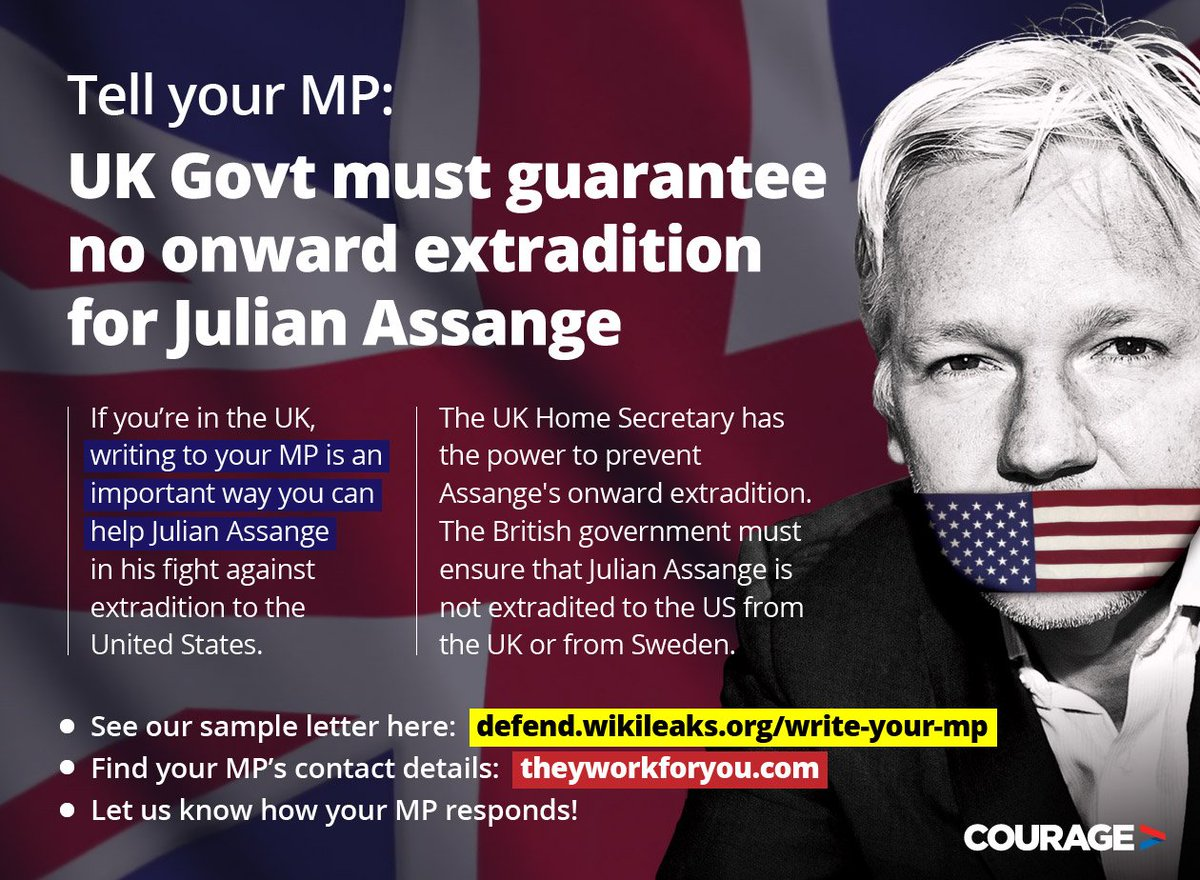 RT @couragefound: Write your MP, save Julian Assange: https://t.co/WV5GNPhrtj  #NoExtradition #FreeAssange https://t.co/tTRJmMQUSO