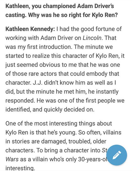 Happy birthday to kathleen kennedy whose idea it was to cast adam as kylo
