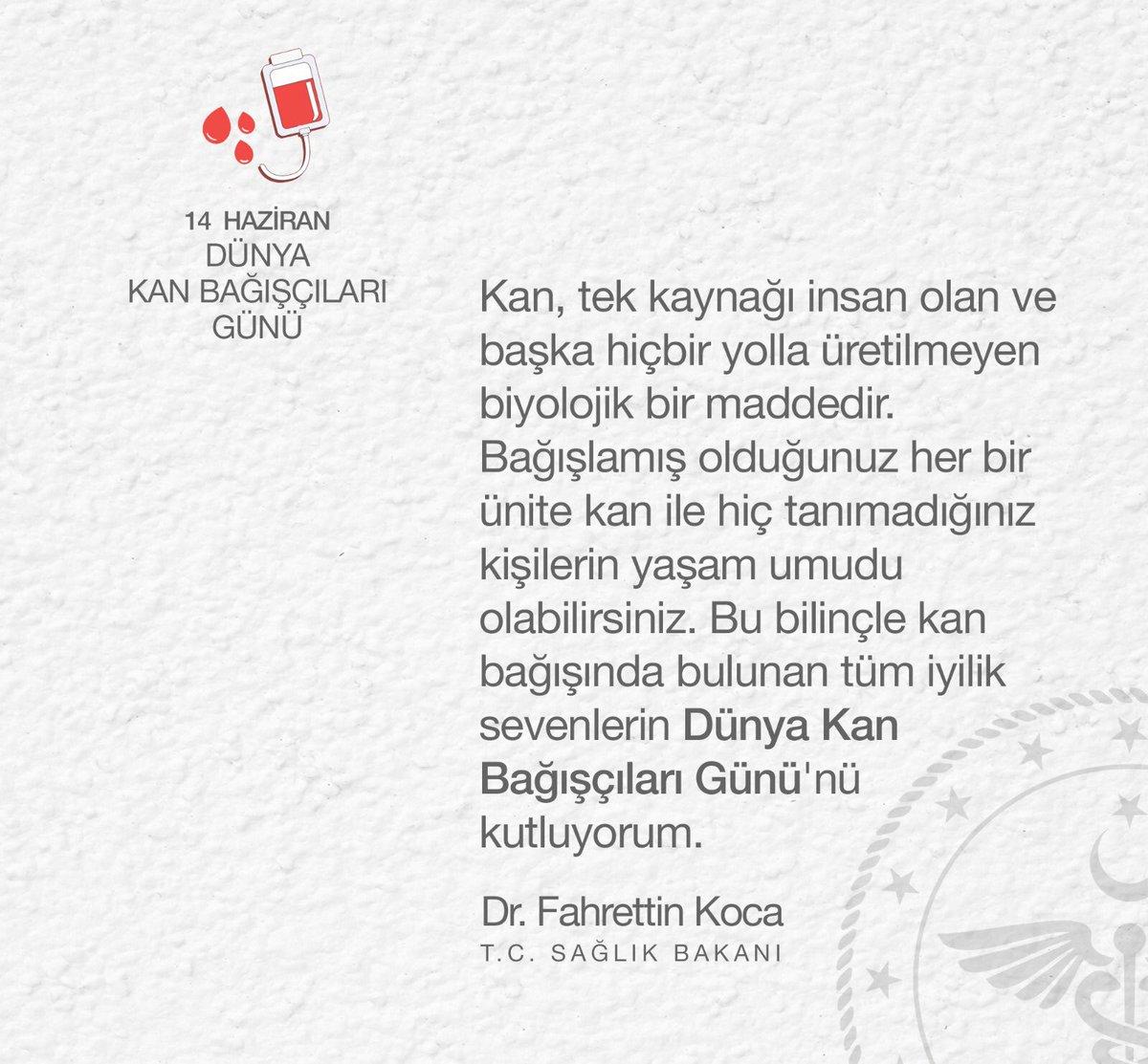 Kan bağışında bulunan tüm iyilik sevenlerin Dünya Kan Bağışçıları Günü'nü kutluyorum. https://t.co/LQ1MTAYaDq