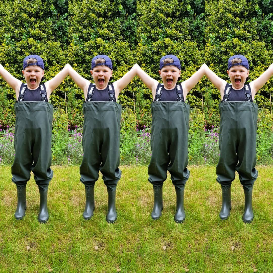 Harry got his 1st set of waders from Daddy! #hazanddunkfishing #carpfishing #<b>Vasswaders</b> #Juni