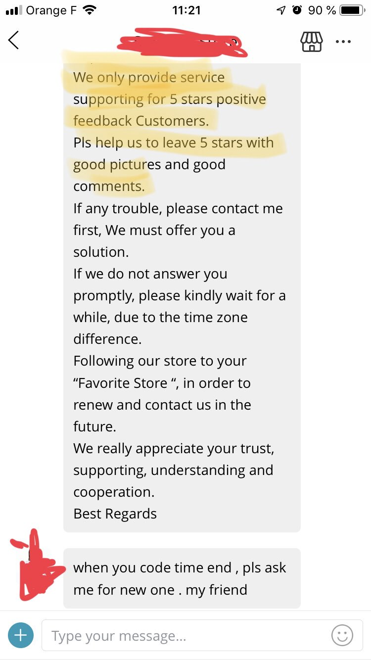 Is this what we call being User Centric @AliExpress_EN ? « Give 5 stars feedback or we won't provide customer support ». Very strange customer strategy... #ecommerce #userexperience https://t.co/Ve5Bd9zsiE