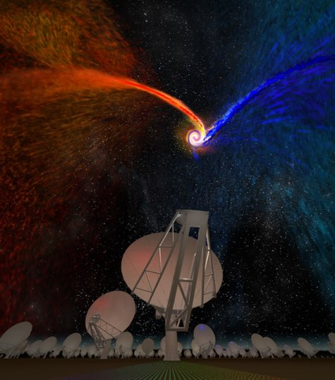 Art meets science🖌️🎨   How do you represent one the four science cases driving the design of the next-gen Very Large Array Telescope?  Well, you get artist Bill Saxton to illustrate the motion of cold, molecular gas streaming throughout the Universe. #galaxyformation #ngVLA https://t.co/0YFGW0rySe