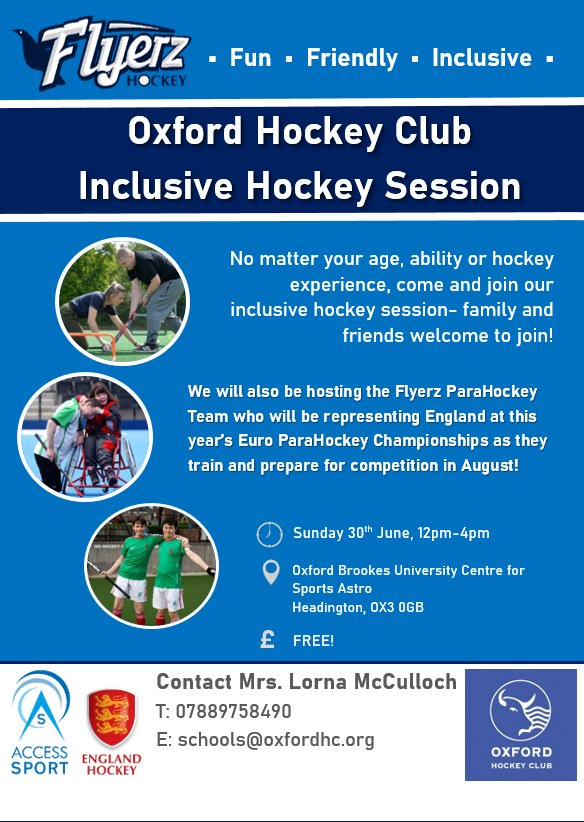 RT @FlyerzHockey: This Sunday, @OxfordHC is hosting a fun, inclusive hockey session alongside the Euro ParaHockey squad from England, as they train for competition in August!   Spread the word to help spread the Flyerz movement and make hockey a sport for all! @keenoxford @ysubcharity @activeoxon