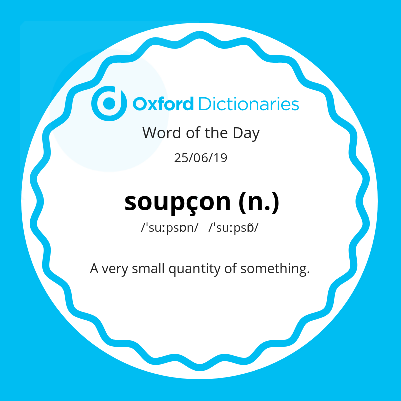 test Twitter Media - Word of the Day: soupçon https://t.co/gsQQOJGKol