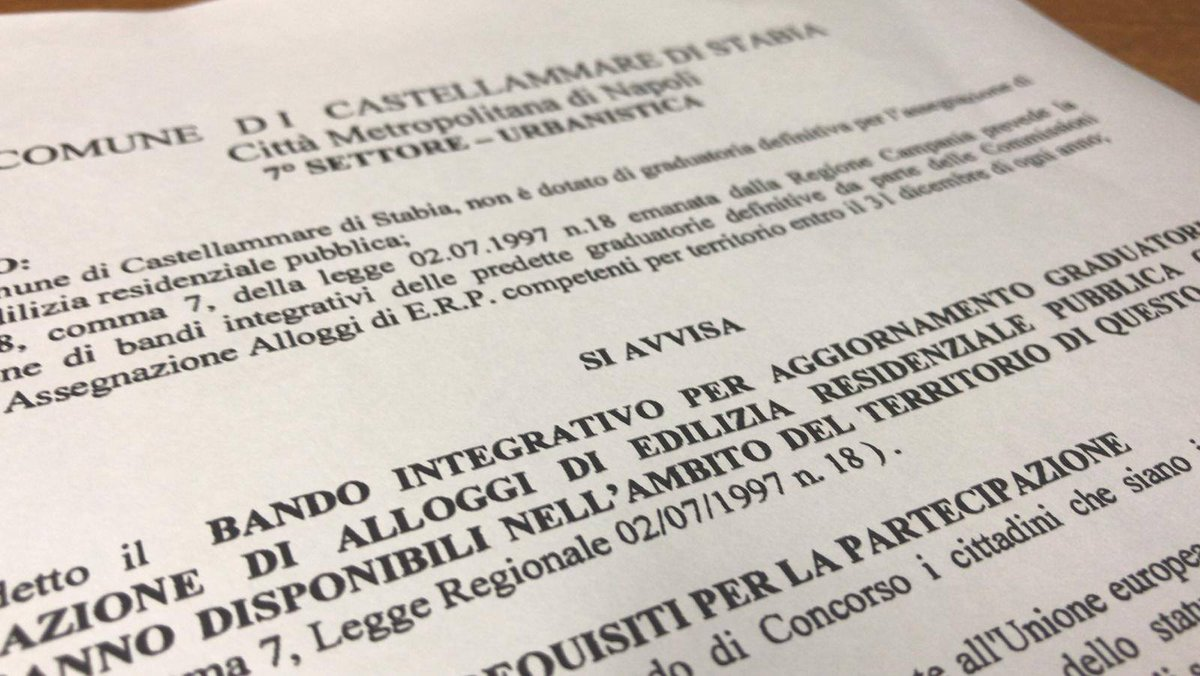 test Twitter Media - È stato pubblicato il bando integrativo per l'aggiornamento della graduatoria e l'assegnazione di alloggi di edilizia residenziale pubblica. -  https://t.co/UsW5cU3o7u -  #EdiliziaResidenzialePubblica #Castellammare #CastellammarediStabia #Stabia2019 #Stabiae #25giugno - https://t.co/Z0Yz7FajfG