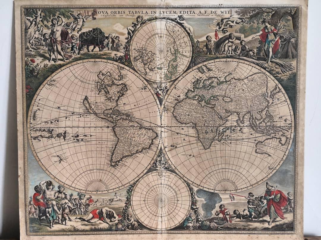 RT @AntiqueFletcher: Beautiful! Frederick de Wit map of the world, c1685. #antiques #antiquemaps https://t.co/EESiPTvq7Y
