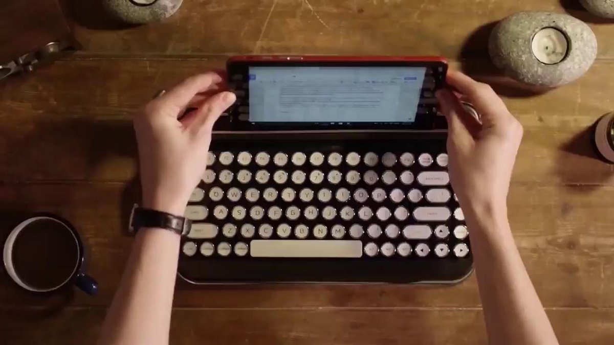 It looks and feels just like a typewriter, but connects via bluetooth to any device.