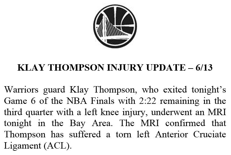 RT @WarriorsPR: Klay Thompson injury update: https://t.co/9b7dZfde9U
