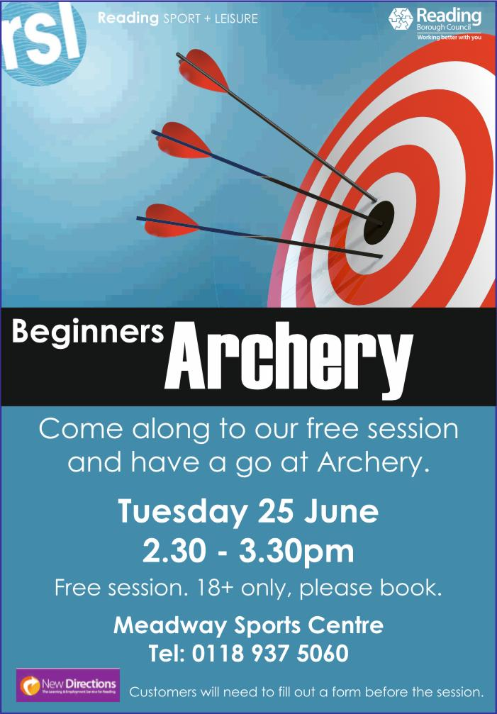 Free archery session on Tuesday 25th June at the Meadway Sports Centre, from 2:30pm to 3:30pm. To book your place or more information please call 0118 937 5060