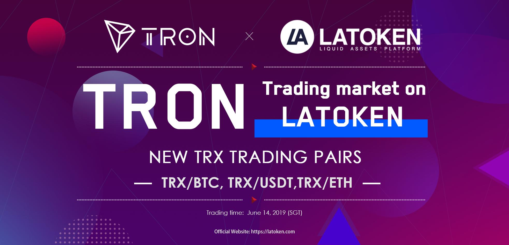 #TRON trading market is available on @latokens, #TRONICS can trade TRX/BTC, TRX/USDT, TRX/ETH now. https://t.co/oZDxDpDf5N