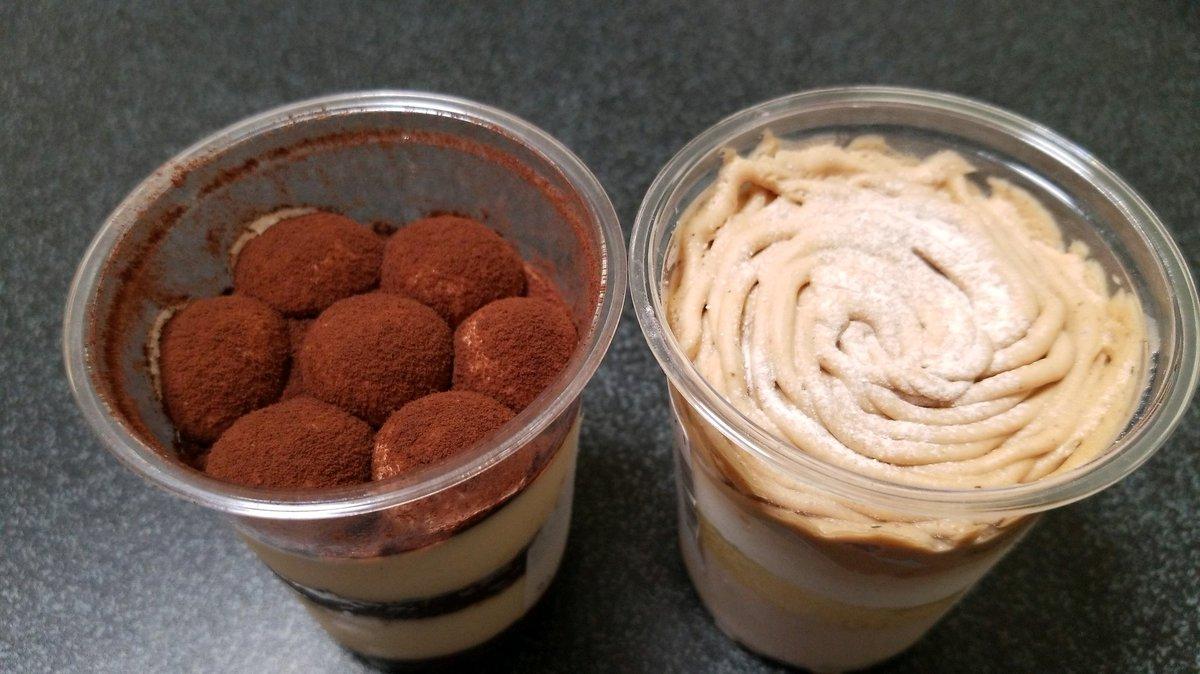 test ツイッターメディア - あなたはどっち?  セブイレの ティラミスケーキ(左) イタリア栗の焼き栗モンブラン(右) どちらも300円 https://t.co/3AuJzuO5ub