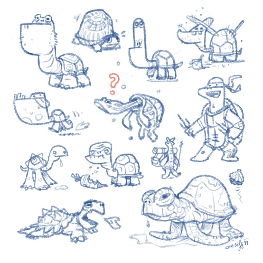 More turtles. Can you spot the grumpy turtle of the previous post?  #iloveturtles #yes #turtles #tmht #sketch #wip #doodle #characterdesign #illustration #chriseff https://t.co/oGoeWdjZrG
