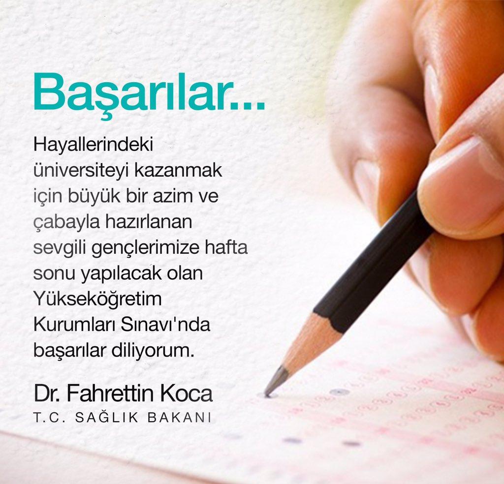 Gençlerimize hafta sonu yapılacak olan Yükseköğretim Kurumları Sınavı'nda başarılar diliyorum. #yks2019 https://t.co/GgjSHurvdz