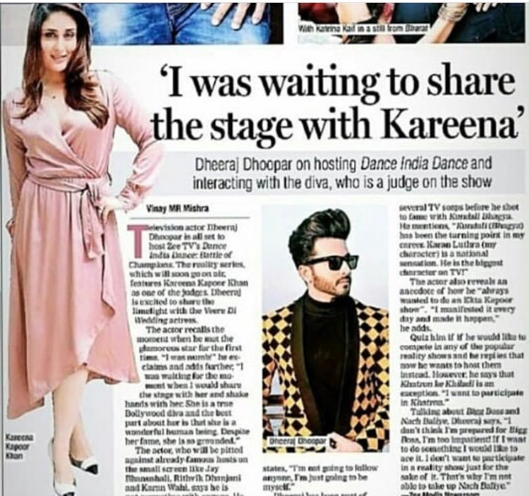 """Kareena is a true Bollywood diva and the best part about her is that she is a wonderful human being. Despite her fame, she is so grounded."" - Dheeraj Dhoopar https://t.co/kRuGwjxHfb"