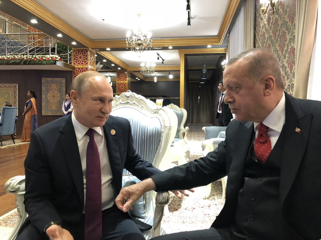 Very fitting:   While US threatens to expel Turkey out of F-35 program and anchors Cyprus and Greece over Ankara...   Erdogan today met Russia's Putin, Iran's Rouhani and China's Xi Jinping on the sidelines of an Asian summit https://t.co/AXeDzOMHkh