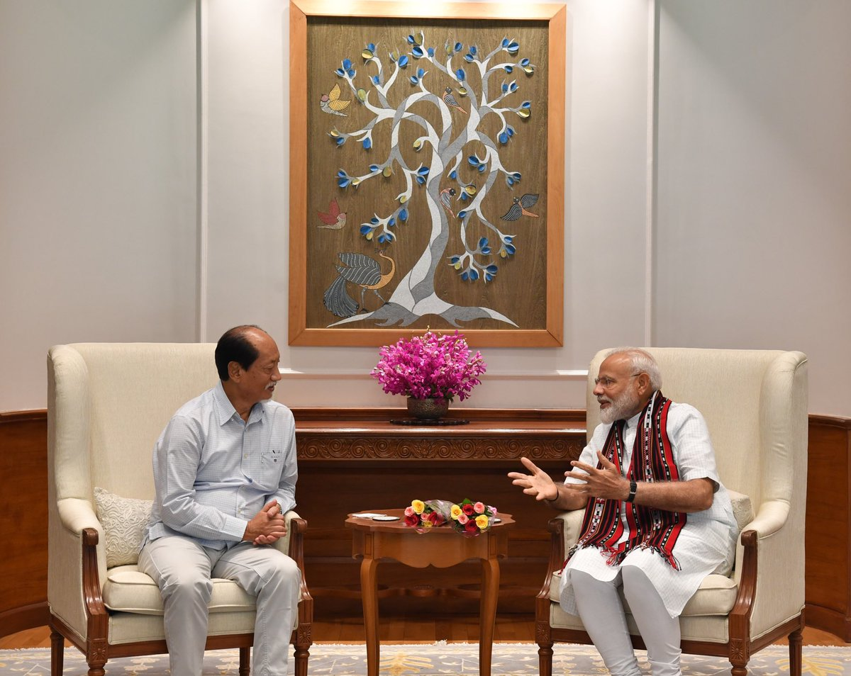 The CM of Nagaland, Shri @Neiphiu_Rio met PM @narendramodi. https://t.co/2wvnd6slKv