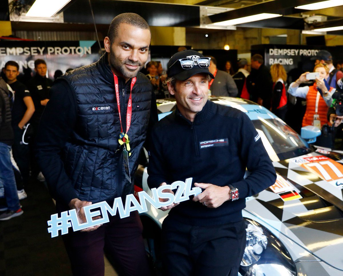 #LeMans24 - Two passionate @24hoursoflemans fans: @NBA star @tonyparker and @PatrickDempsey met before the start of the greatest race on earth in the @ProtonRacing team garage. @Porsche @FIAWEC