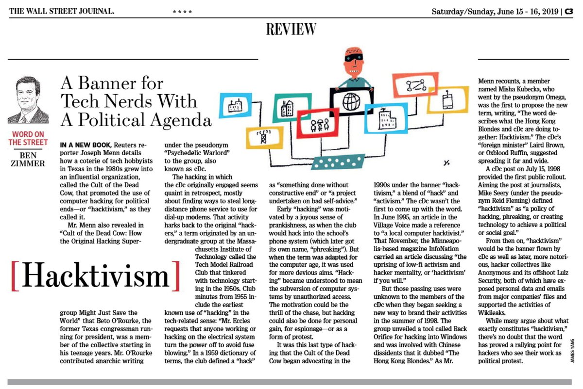 """test Twitter Media - In this weekend's @WSJ Review section: how """"hacktivism"""" originated in a pioneering hacker collective. And check out @josephmenn's great new book on the group, The Cult of the Dead Cow. cc @OxbloodRuffin @CdcReid https://t.co/ZMZaJoKtzn https://t.co/YgIpYspVIE"""