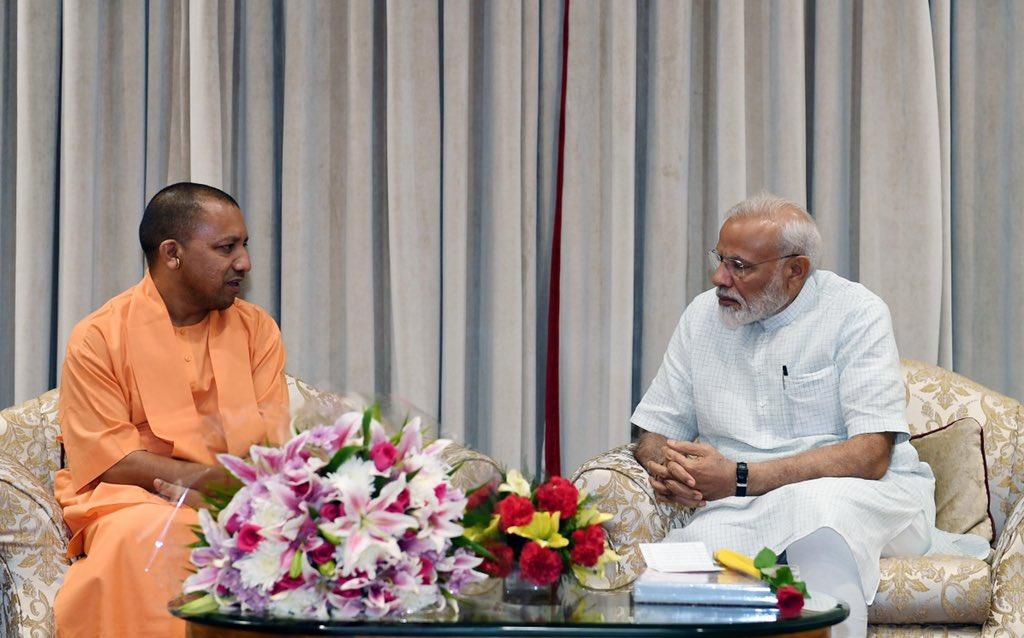 Chief Minister @myogiadityanath Ji met PM @narendramodi. @CMOfficeUP https://t.co/NZn5kzqrBS