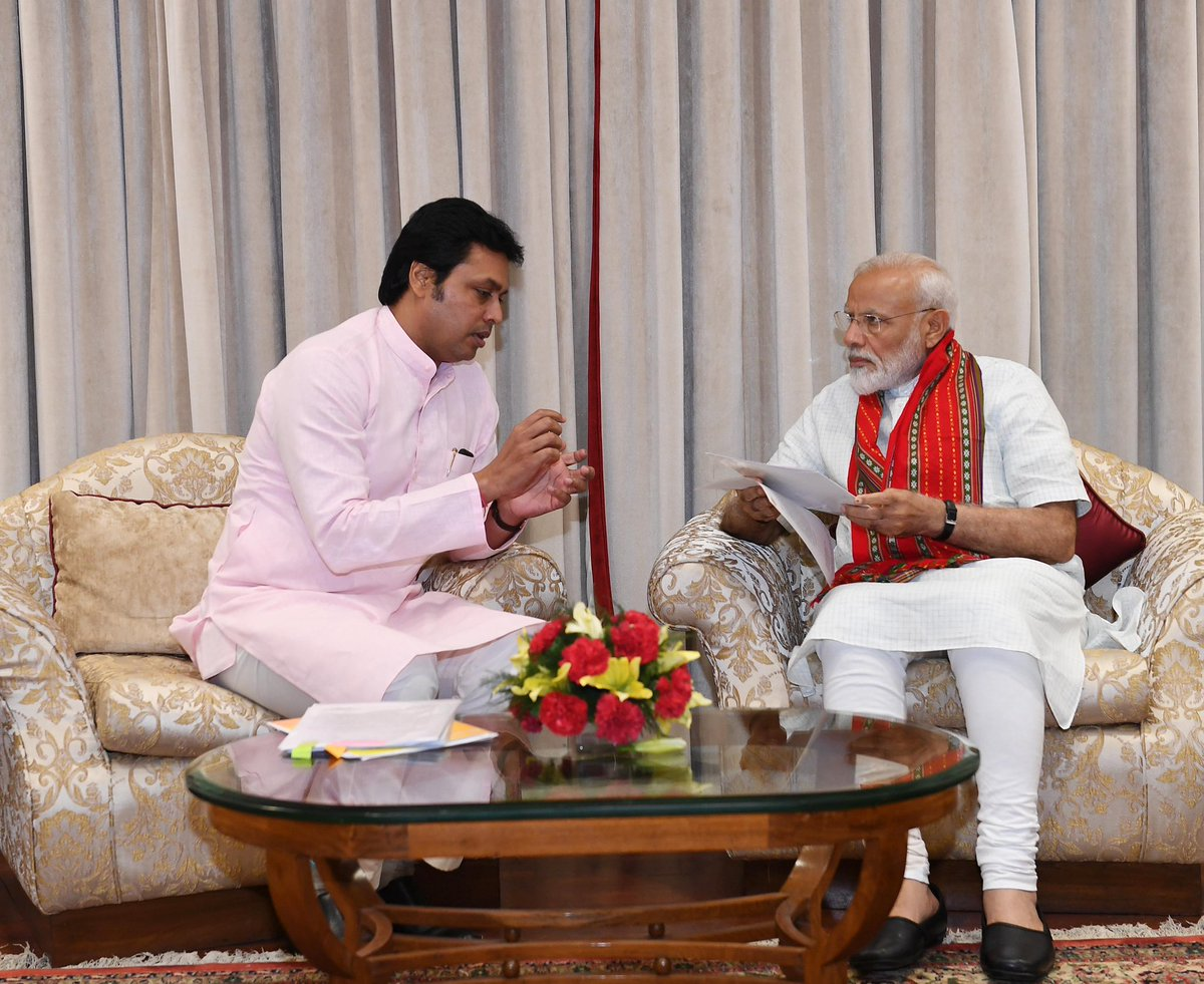 Tripura CM Shri @BjpBiplab met PM @narendramodi. https://t.co/TvearF3SDd