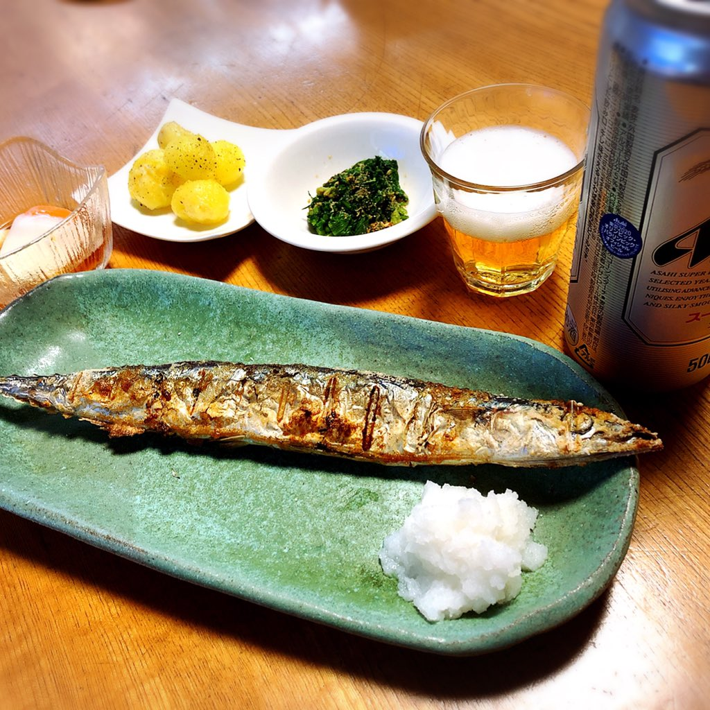 test ツイッターメディア - 実家飯 秋刀魚塩焼き、春菊ごま和え、新じゃがバターソテー、温泉たまご https://t.co/4ubnXGDchB
