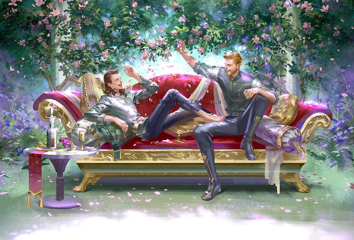 #Thorki    #Loki #Thor   ----Someday----  这张图从18年七月初拖到19年六月中,还差一点点就拖满一年了,自己居然还有毅力把它翻出来画完,都是因为爱啊555!  前几天循环听《brother》又哭唧唧....  最后,这张图的灵感来源于阿尔玛大师的一张油画: